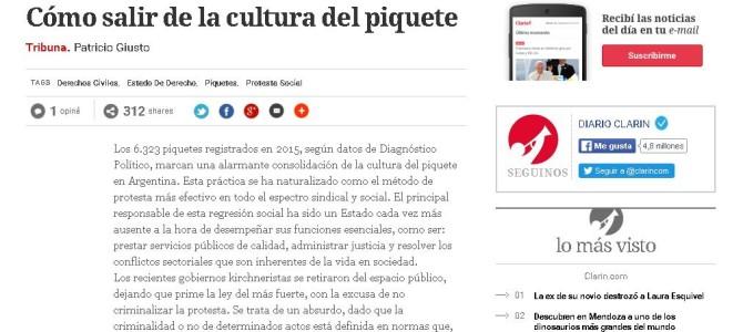 Columna de opinión de Patricio Giusto en el diario Clarín