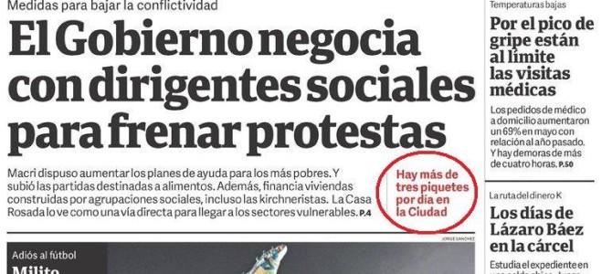 Informe de Diagnóstico Político en la tapa de Clarín