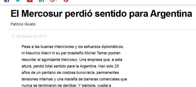 Columna para Infobae sobre el Mercosur y la Argentina