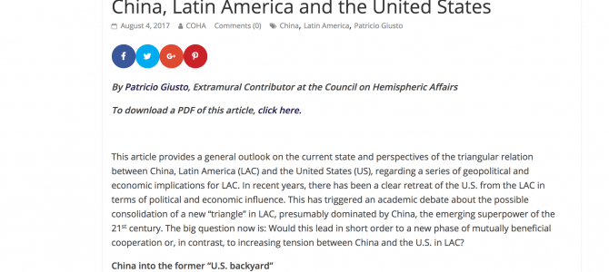 Paper de Patricio Giusto para el Council on Hemispheric Affairs