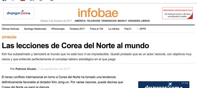 Análisis sobre la crisis de Corea del Norte para Infobae