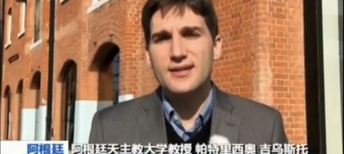 Patricio Giusto en el noticiero central de la TV estatal de China