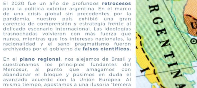Difícil ser optimista con la política exterior argentina en 2021