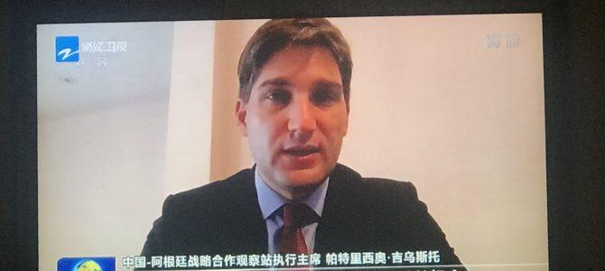 Patricio Giusto en el noticiero central de la TV china